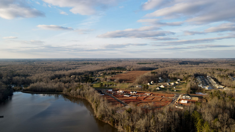 Aerial photography in North Carolina housing development near lake